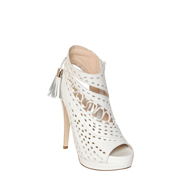White Tassel Stilettos Platform Heels Peep Toe Hollow-out Summer Boots image 3