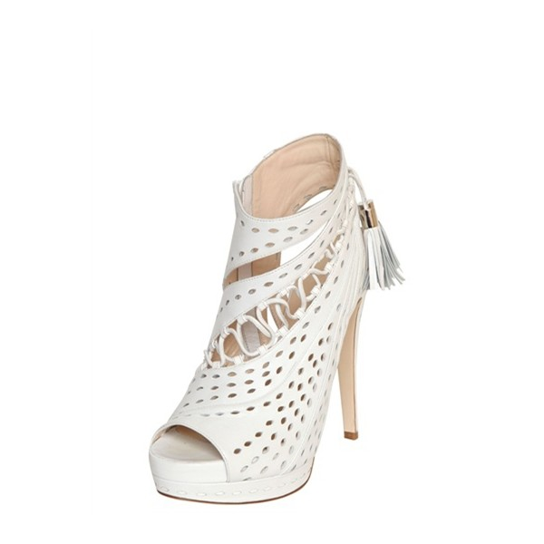 White Tassel Stilettos Platform Heels Peep Toe Hollow-out Summer Boots image 1