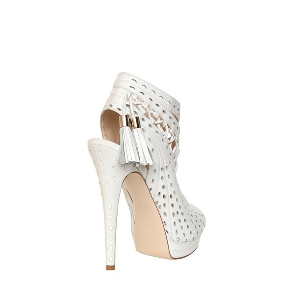 White Tassel Stilettos Platform Heels Peep Toe Hollow-out Summer Boots image 4