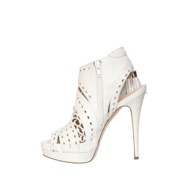 White Tassel Stilettos Platform Heels Peep Toe Hollow-out Summer Boots image 5