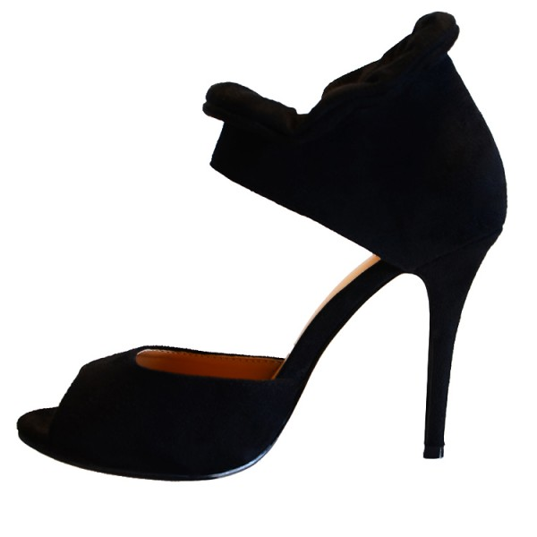 Women's Black Suede Peep Toe Zipper Stiletto Heels Pumps Sandals image 2