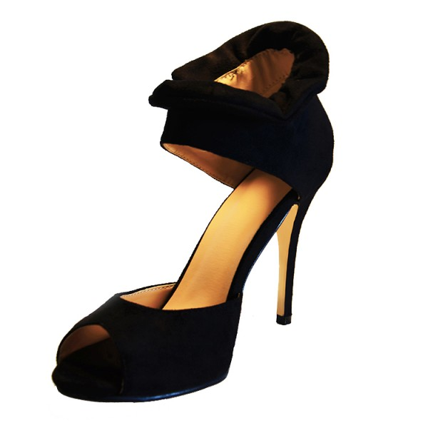 Women's Black Suede Peep Toe Zipper Stiletto Heels Pumps Sandals image 1