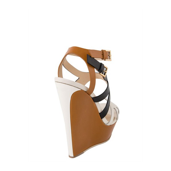 Multi-color Wedge Sandals Open Toe High Heels Shoes image 2
