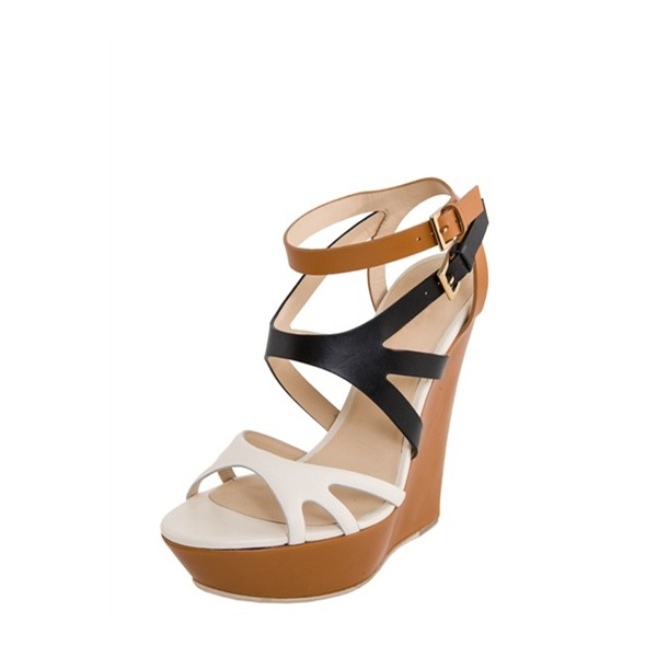 Multi-color Wedge Sandals Open Toe High Heels Shoes image 1