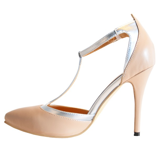 Nude T Strap Heels Closed Toe Sandals  image 3