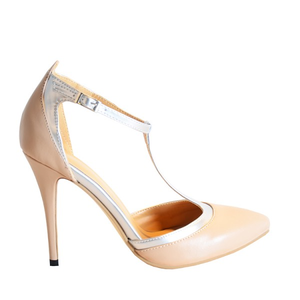 Nude T Strap Heels Closed Toe Sandals  image 5