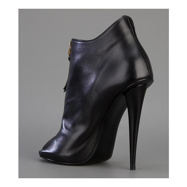 Black Stiletto Boots Peep Toe Commuting Ankle Booties image 6