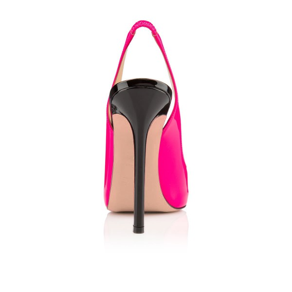 Women's Rose Red Peep Toe Stiletto Heel Slingback Pumps image 4