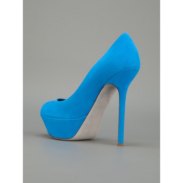 Cobalt Blue Shoes Suede Stiletto Heel Platform Pumps for Office Ladies image 3