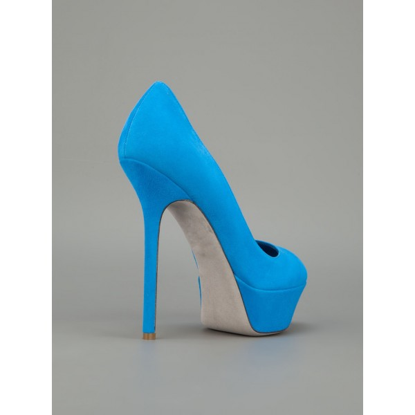 Cobalt Blue Shoes Suede Stiletto Heel Platform Pumps for Office Ladies image 4
