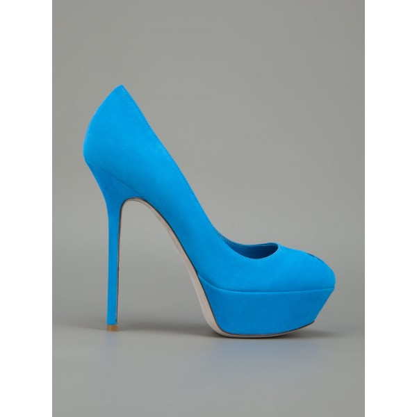 Cobalt Blue Shoes Suede Stiletto Heel Platform Pumps For