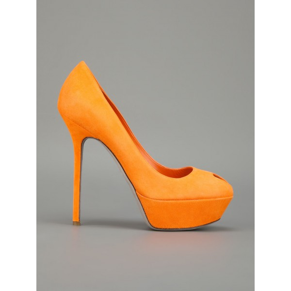 Orange Suede Shoes Platform Pumps High Heels Shoes for Women image 2