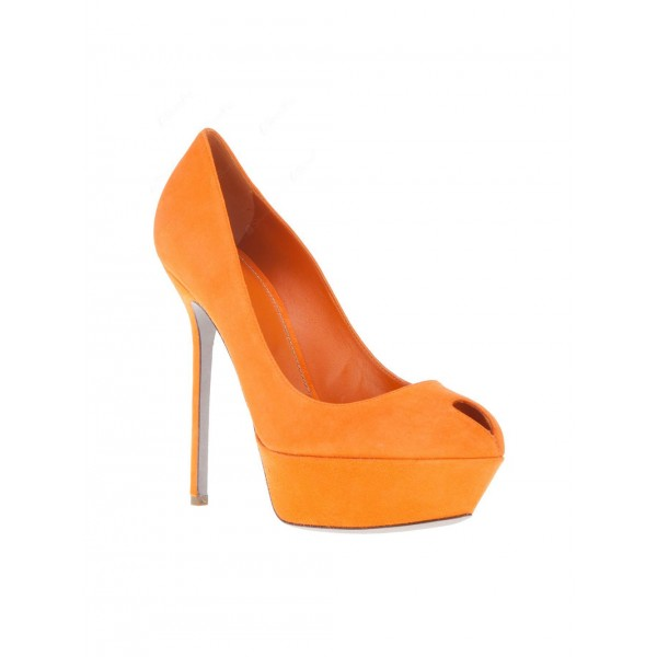 Orange Suede Shoes Platform Pumps High Heels Shoes for Women image 3
