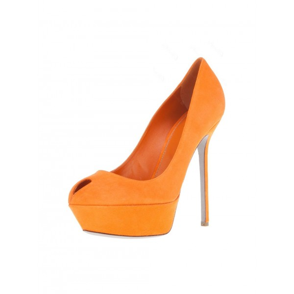 Orange Suede Shoes Platform Pumps High Heels Shoes for Women image 1