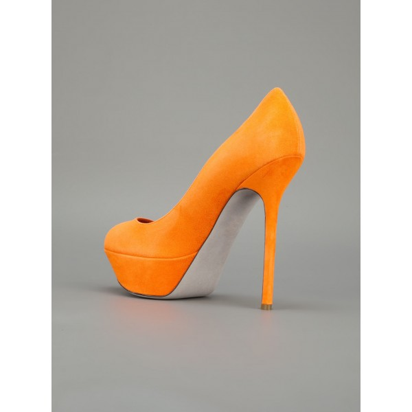 Orange Suede Shoes Platform Pumps High Heels Shoes for Women image 4