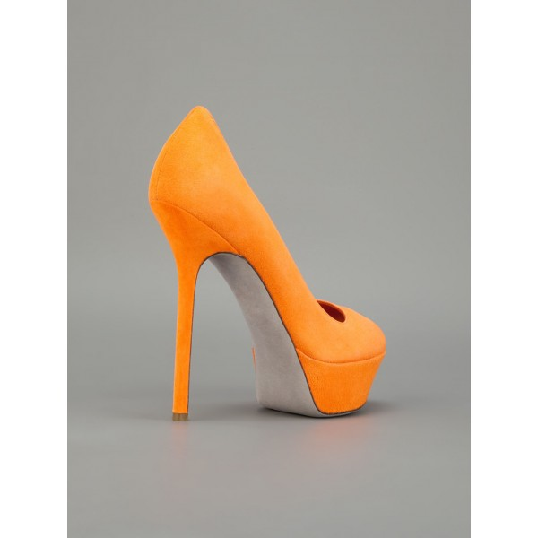 Orange Suede Shoes Platform Pumps High Heels Shoes for Women image 5
