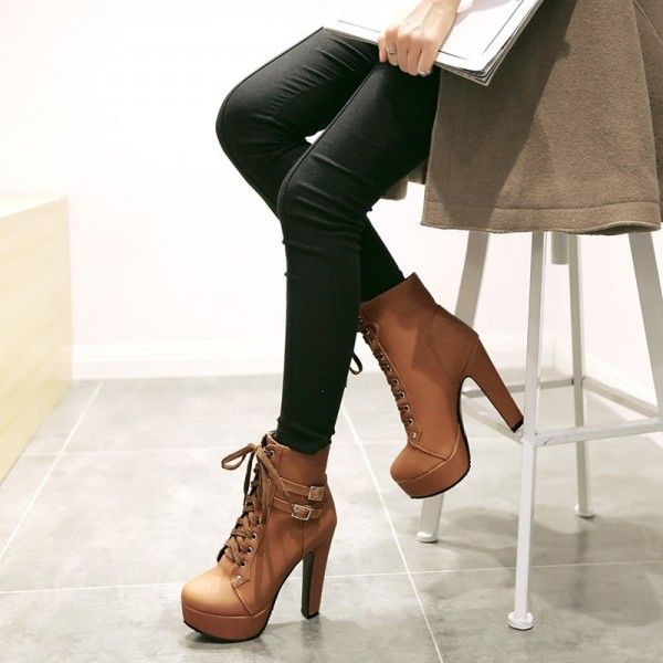 Women's Brown Lace Up Boots Chunky Heel Platform Ankle Booties image 3