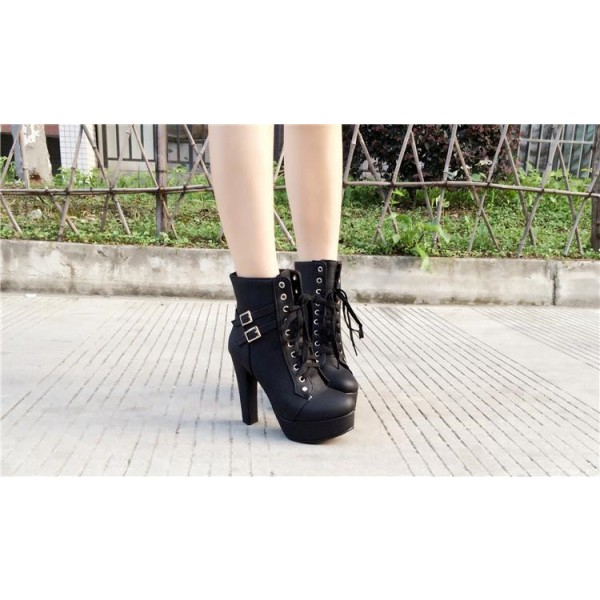 Women's Black Lace Up Boots Platform Chunky Heels Ankle Booties image 5