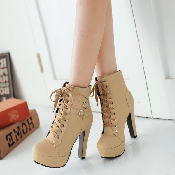 Beige Chunky Heel Boots Lace up Boots Platform Heels Ankle Booties image 3