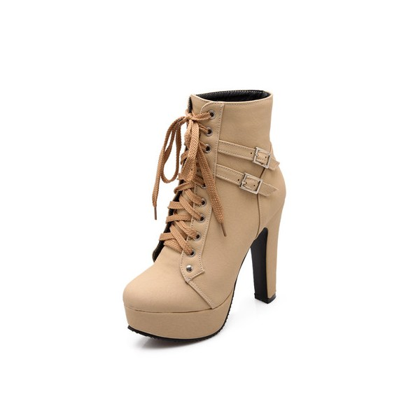 Beige Chunky Heel Boots Lace up Boots Platform Heels Ankle Booties image 1
