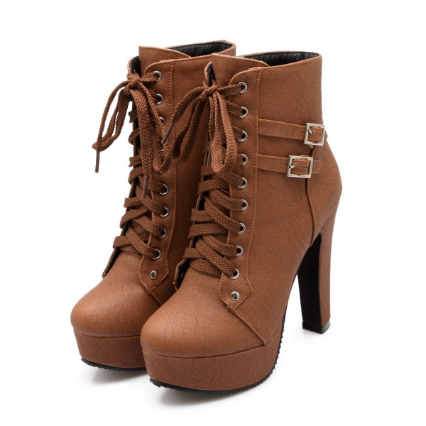 Women's Brown Lace Up Boots Chunky Heel Platform Ankle Booties image 1