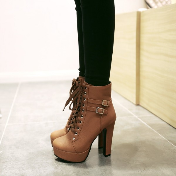 Tan Short Boots Vegan Leather Lace up Platform Chunky Heel Ankle Boots image 2