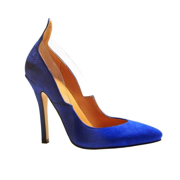 Royal Blue Heels Suede Pointy Toe 3 Inch Stiletto Heels for Ladies image 2