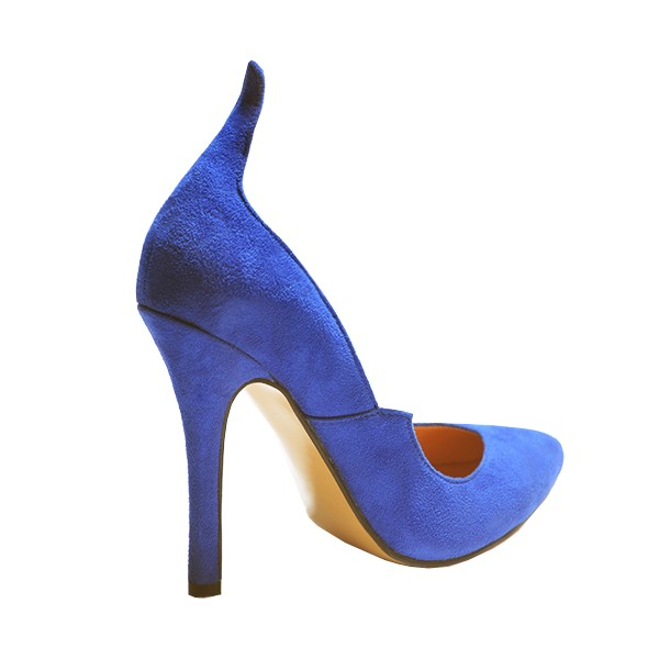 Royal Blue Heels Suede Pointy Toe 4 Inch Stiletto Heels for Ladies image 3