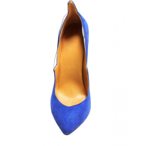 Royal Blue Heels Suede Pointy Toe 3 Inch Stiletto Heels for Ladies image 4