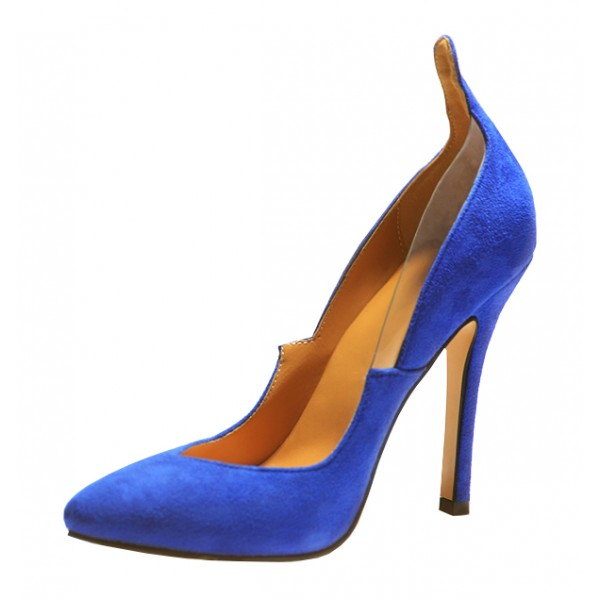 Royal Blue Heels Suede Pointy Toe 3 Inch Stiletto Heels for Ladies image 1