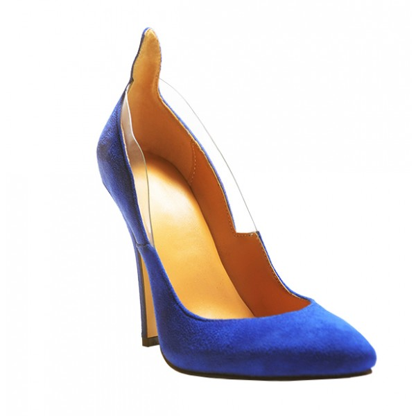 Royal Blue Heels Suede Pointy Toe 3 Inch Stiletto Heels for Ladies image 5