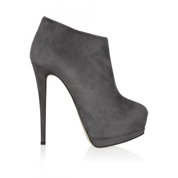 Dark Grey Platform Boots Stiletto Heels Suede Ankle Booties for Ladies image 2