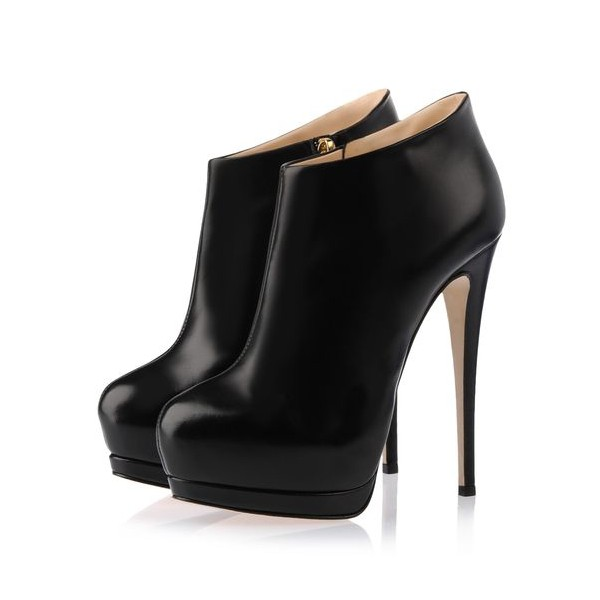 Black Fall Boots Closed Toe Platform Stiletto Heel Fashion Booties image 1