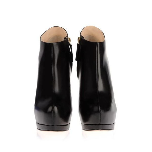 Black Fall Boots Closed Toe Platform Stiletto Heel Fashion Booties image 4