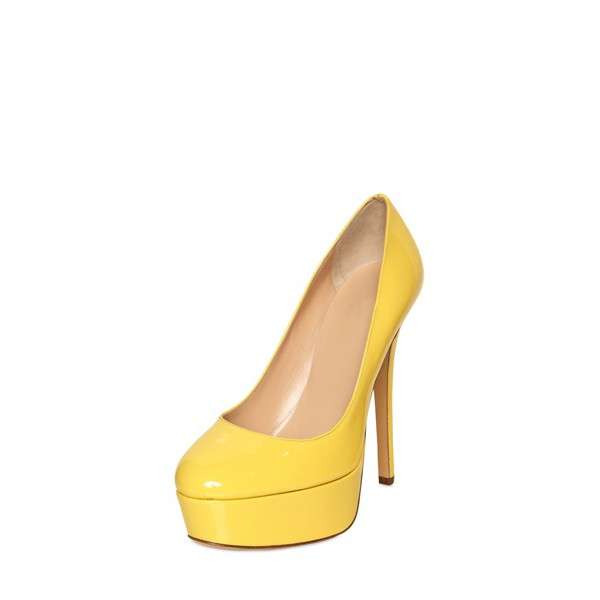 Women's Daisy Yellow Almond Toe Low-cut Uppers Platform Heels Stiletto Heel Pumps image 1