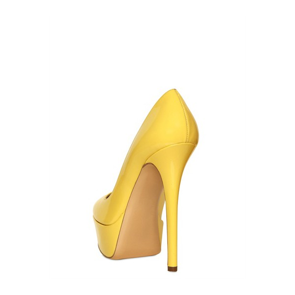 Women's Daisy Yellow Almond Toe Low-cut Uppers Platform Heels Stiletto Heel Pumps image 3