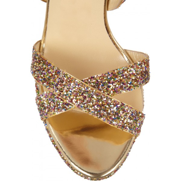 Women's Gold Glitter Shoes Open Toe Platform Sandals Evening Shoes image 2