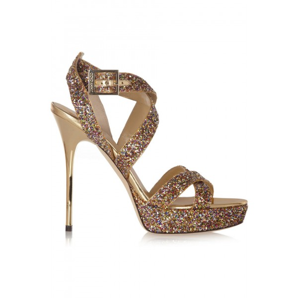 Women's Golden Glitter Shoes Open Toe Strappy Twisted Stiletto Heel Sandals  image 3