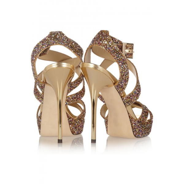Women's Golden Glitter Shoes Open Toe Strappy Twisted Stiletto Heel Sandals  image 5