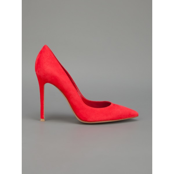 Red Stiletto Heels Suede Pointy Toe Pumps for Ladies image 4