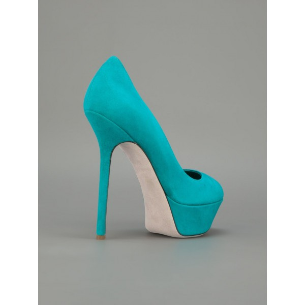 Turquoise Heels Suede Shoes Stiletto Heel Platform Pumps for Women image 5