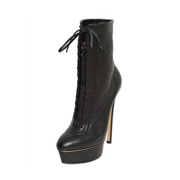 Black Lace up Heels Platform Ankle Booties High Heel Shoes image 1