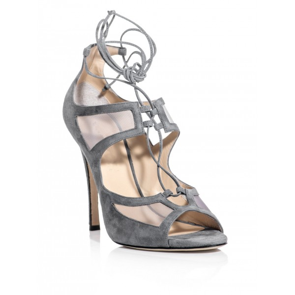 Vita Grey Lace-up Sandals Peep Toe Stiletto Heels Strappy Sandals image 2