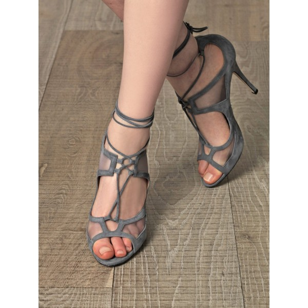 Vita Grey Lace-up Sandals Peep Toe Stiletto Heels Strappy Sandals image 3