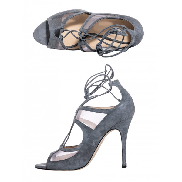 Vita Grey Lace-up Sandals Peep Toe Stiletto Heels Strappy Sandals image 4