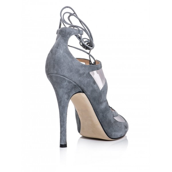 Vita Grey Lace-up Sandals Peep Toe Stiletto Heels Strappy Sandals image 5
