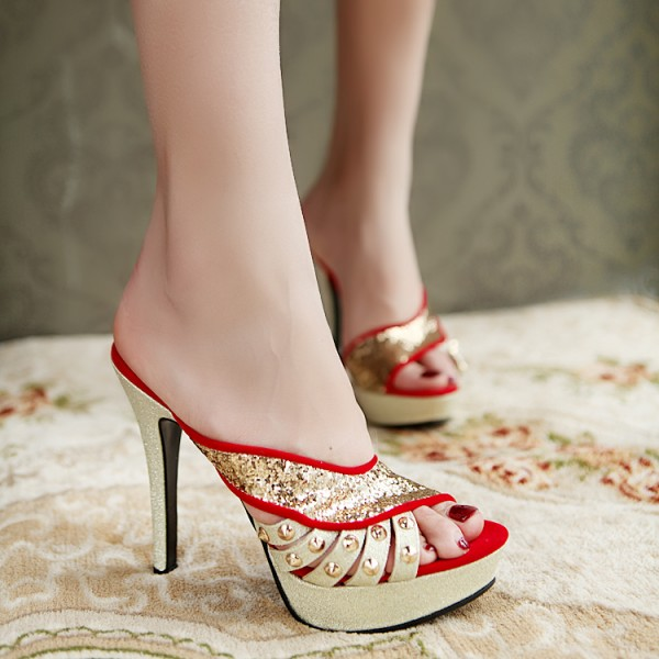 Coral Red Golden Glittering Open Toe Platform Stiletto Heel Slippers  image 2