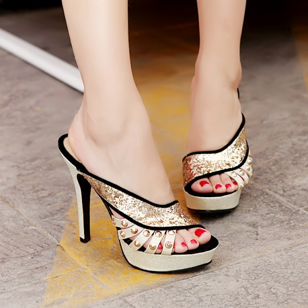 Women's Black Golden Glittering Open Toe Platform Stiletto Heels Slippers  image 2