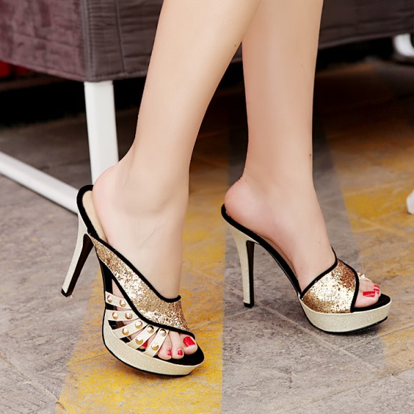Black And Gold Glitter Mule Heels Peep Toe Platform High