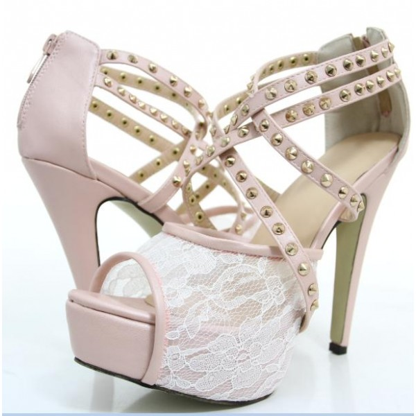 Pink Lace Heels Studded Peep Toe Platform Sandals for Prom image 1